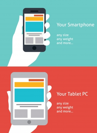 Beautiful Smartphone and Tablet flat icon design Vector