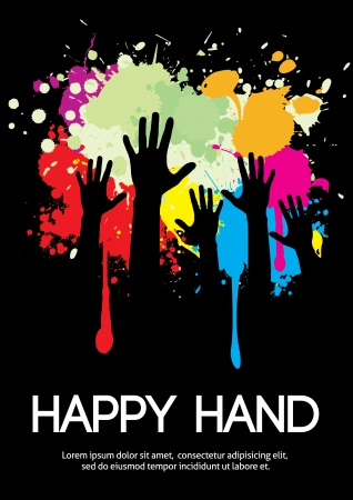 hands raised: Large group of happy hands design with copy space