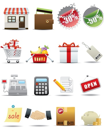 bank cart: Shopping and Consumerism Icon Set  Illustration