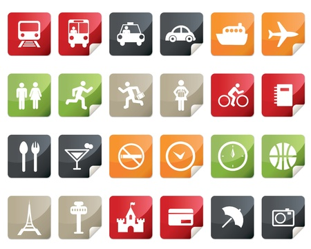 Internet and Travel Icon Set. Tag and Label Style  Vector