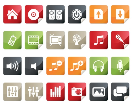Internet and Multimedia Icon Set. Tag and Label Style  Vector