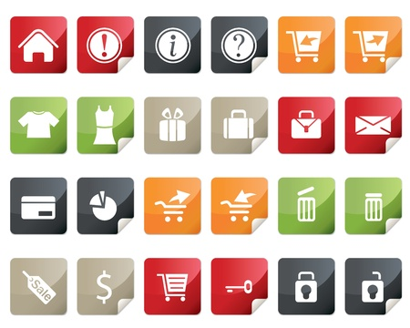 Internet and Online Shopping Icon Set. Tag and Label Style Vector