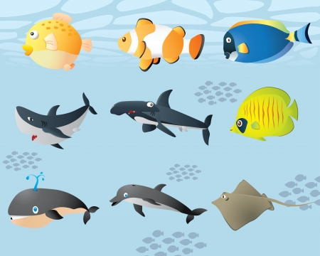 cute sealife  Vector