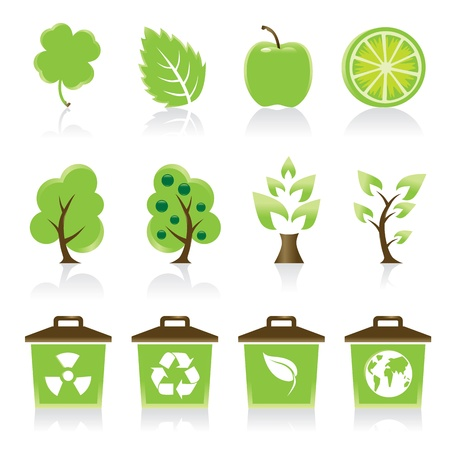 lemon tree: Set of 12 environmental green icons for your design idea
