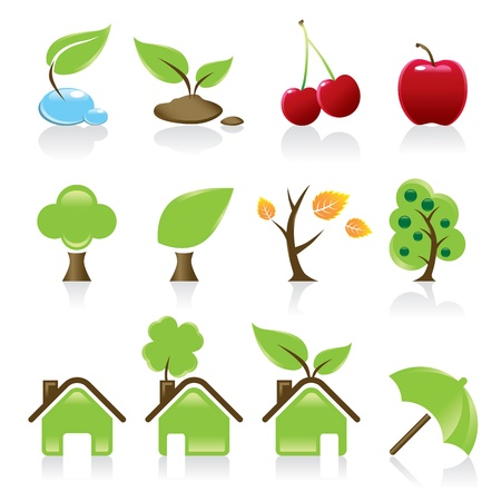 Set of 12 environmental green icons for your design idea  Stock Vector - 20322845