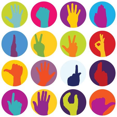 multi coloured: Set of 16 Hand Prints  Illustration