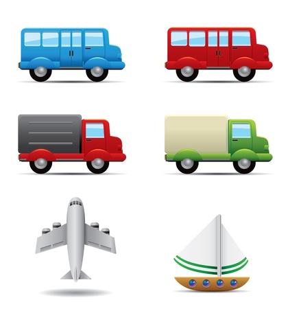AI: Realistic transportation icons set