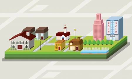 3d Map with lovely house cartoon style icon Vector