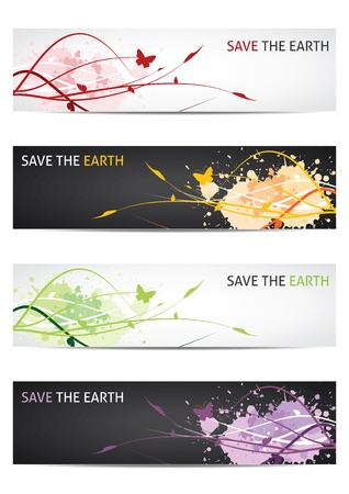 Save our earth - Floral design banners  Vector