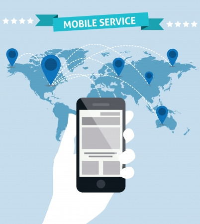 Creative mobile phones global service idea design Vector