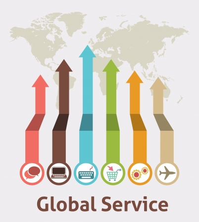ilustration and painting: Global Service Idea Infographic Illustration