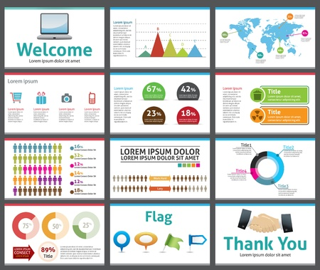 computer graphic: presentation template - business company slide show design Illustration