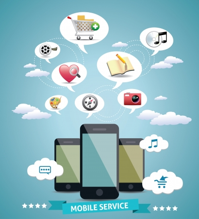 Mobile Service Design Idea Vector