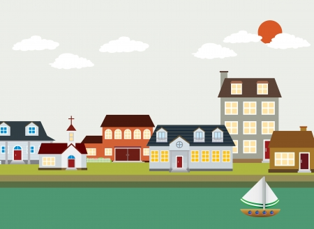 town houses: cartoon town - Vector Landscape