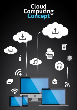 cloud computing services: Cloud Computing Concept Vector Illustration
