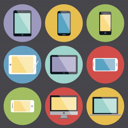 old pc: Flat Design Device Icons