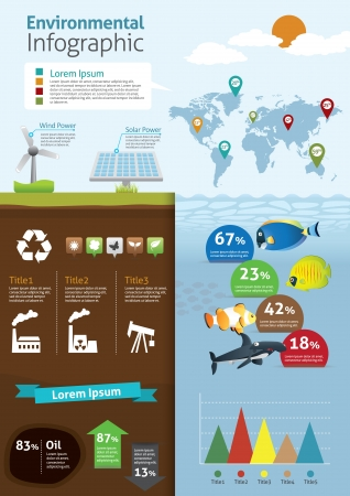 Environmental Infographics - with cute icon  Vector