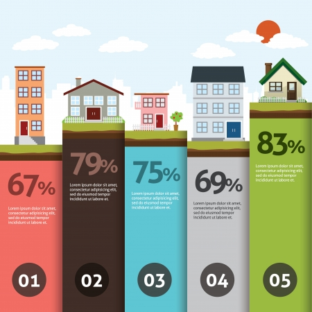 town modern home: City bannner retro illustration with colorful icons infographics