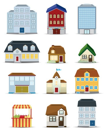 mall interior: 3d Building Icon Set