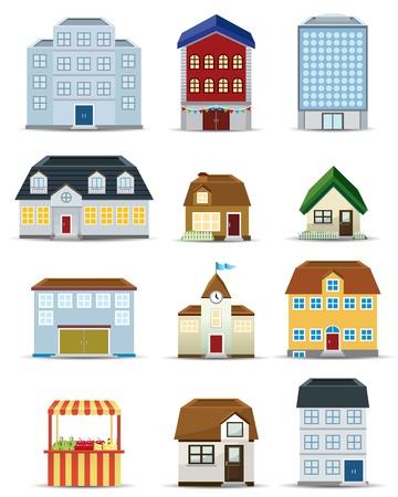 3D-Gebäude Icon Set Vektorgrafik