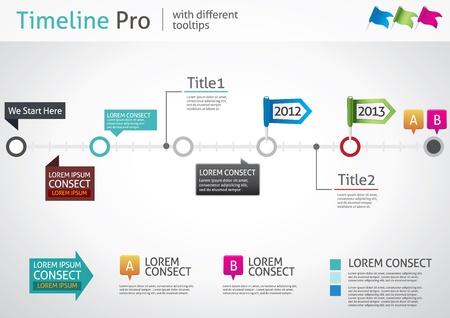 タイムライン Pro - 異なるツールヒント - ベクトル インフォ グラフィック  イラスト・ベクター素材