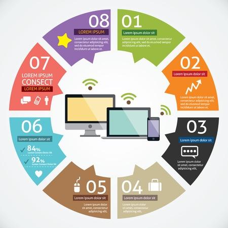 흐름: 원 컴퓨터와 아이콘 인포 그래픽과 모바일 장치의 개념