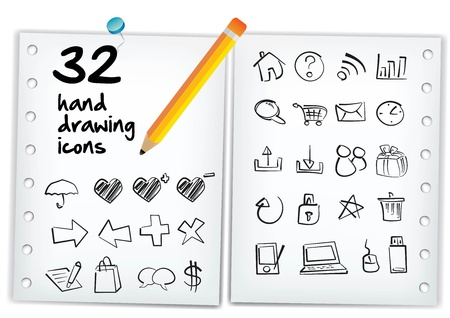 Hand drawing icon on a paper with a pencil   Vector