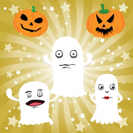 Halloween Ghost and Pumpkin  Vector