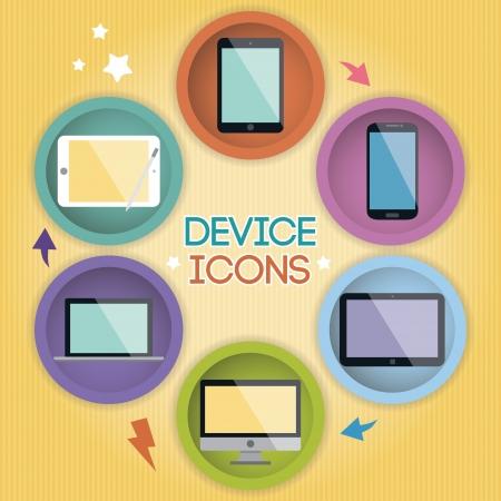 Cartoon Device Icons Ilustrace