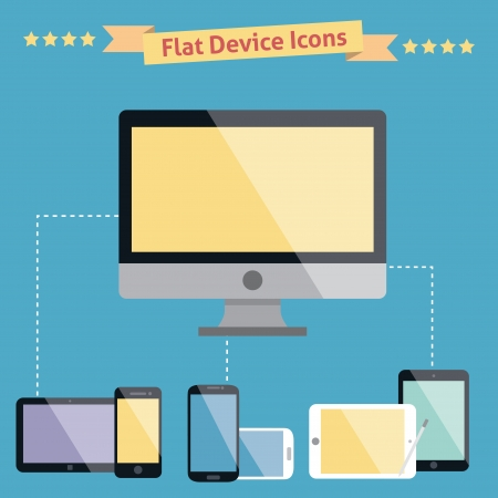 electronic devices: Computer laptop tablet phone isolated logos