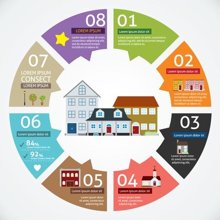 plan maison: Vecteur cercle concepts de maison avec des ic�nes infographie