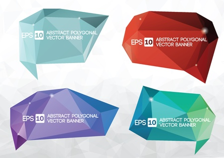 A collection of vector modern abstract origami polygonal banner  speech bubble Vector
