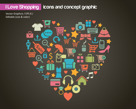 photo icons: I Love Shopping (icon and concept)  Illustration
