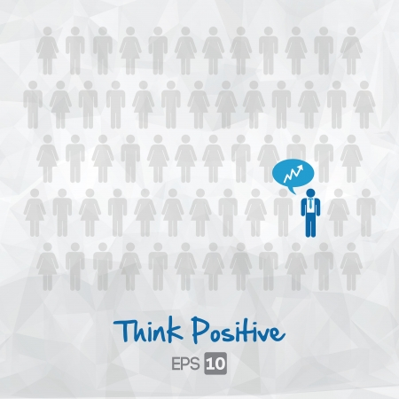 outside the box: illustration of people icons, think positive, vector illustration design