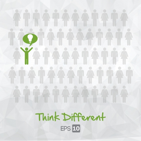 think different: illustration of people icons, think different, vector illustration design