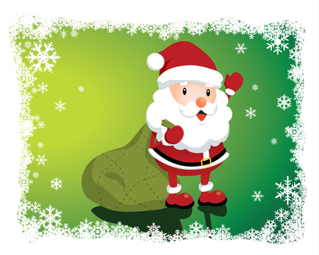 Lovely Santa Claus with a big bag Vector