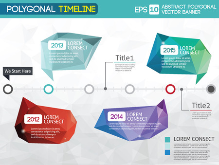polygonal: Timeline -different tooltips - polygonal illustration Illustration