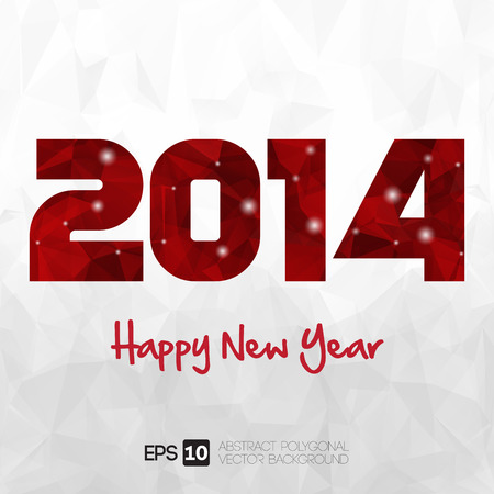 Happy New Year 2014 greeting card. Vector EPS 10 . Polygonal Illustration
