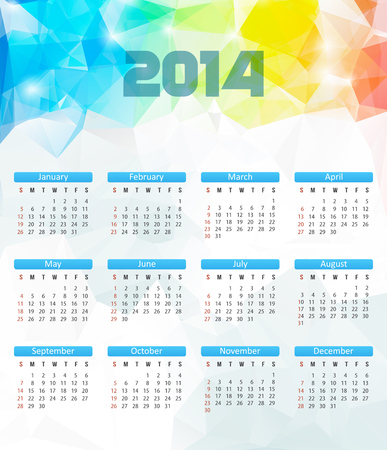 Calendar 2014. Vector. Polygonal Illustration