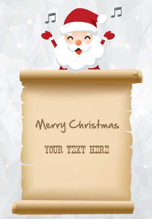 winter wish: Illustration of Santa claus with parchment sign for children gift list