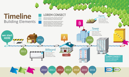 Timeline with building element Vector