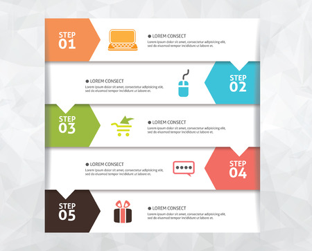 Vector Step Flowchart Template Vector