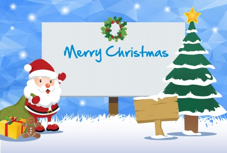 Christmas Billboard and Happy Santa Theme Vector