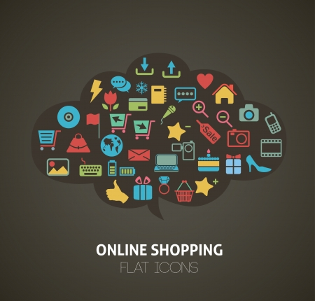 Flat Style Shopping Icons Infographic
