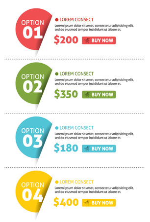 number button: Vector Number Options Banner with Buy Button