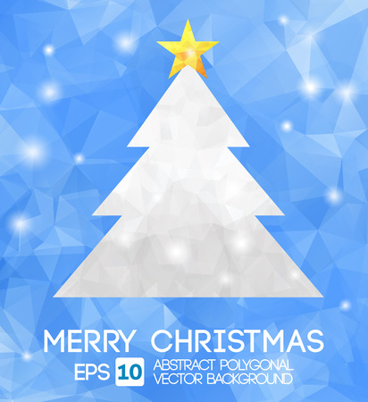 Christmas tree greeting card. Vector EPS 10 . Polygonal Illustration  Vector