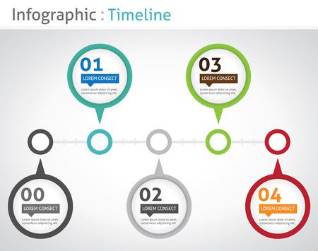 インフォ グラフィックのタイムライン  イラスト・ベクター素材