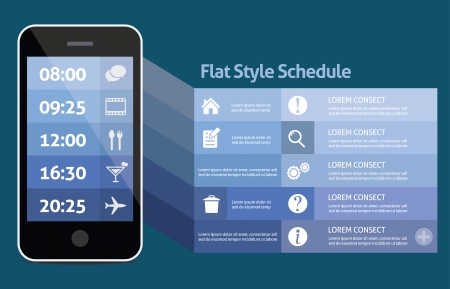 Smart phone personal schedule Vector