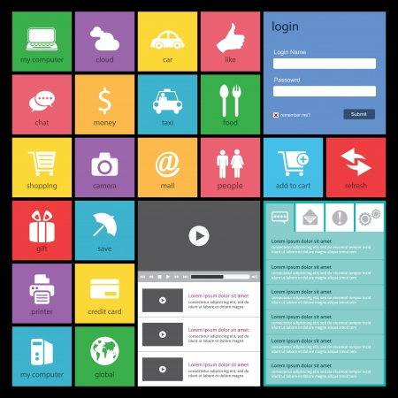 Flat Web Design, elements, buttons, icons. Templates for website.  Vector