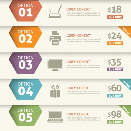 five element: Option and price infographic